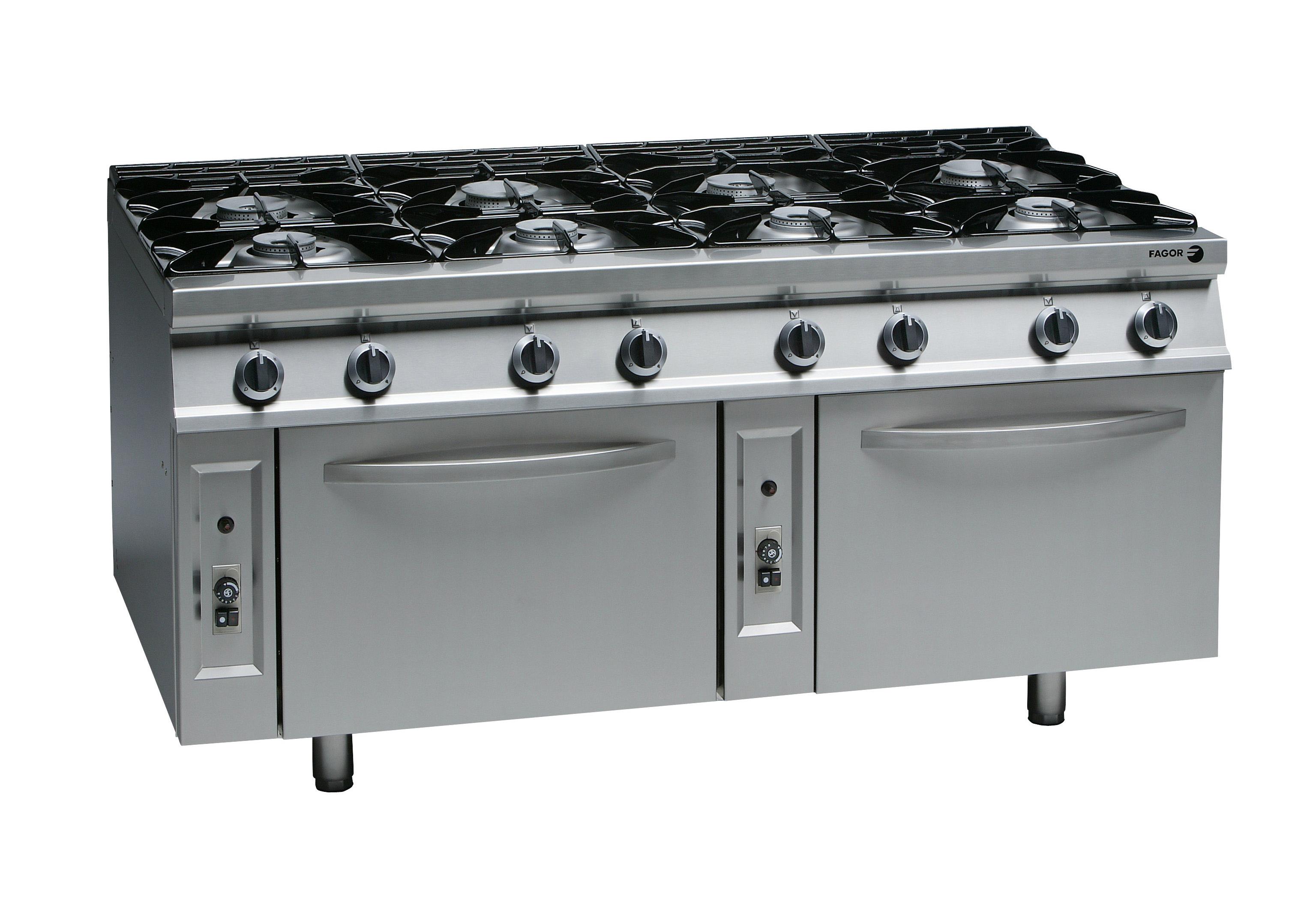 Cocina a gas fuego abierto con horno cg9 82 fagor for Distribucion de cocinas industriales