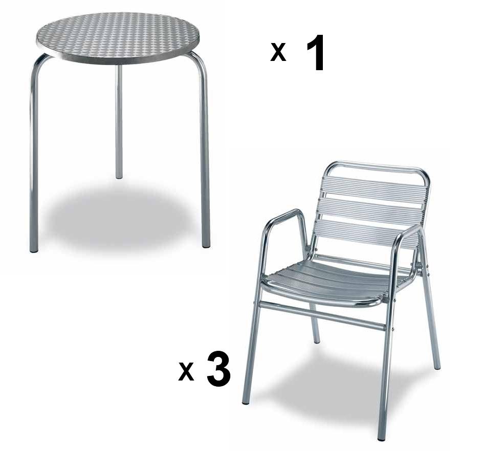 mesa redonda de terraza 3 sillas apilables