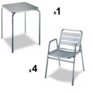 Mesa de aluminio 4 sillas de terraza for Sillas para terraza