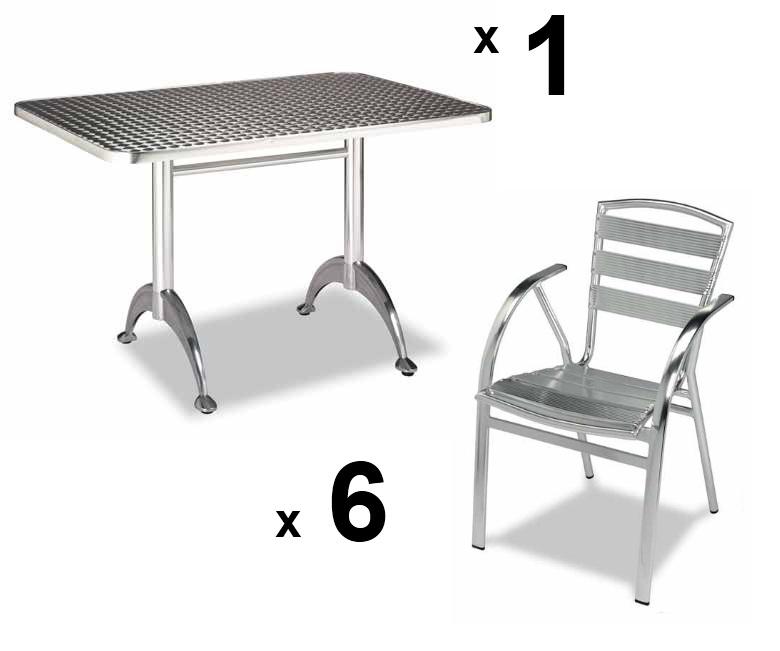 Mesa de terraza 6 sillas de aluminio apilables - Mesas de terraza ...